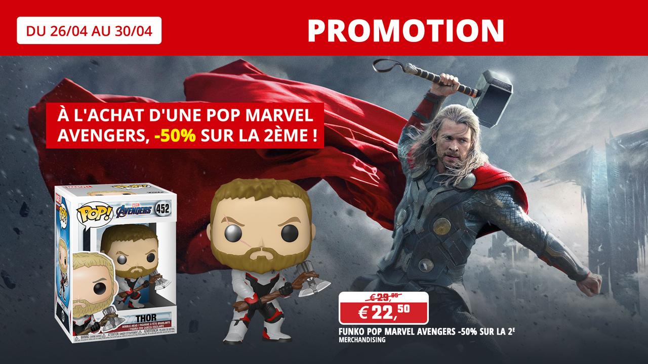 Achetez une Funko Pop! Marvel Avengers achetée et recevez -50% sur une 2ème