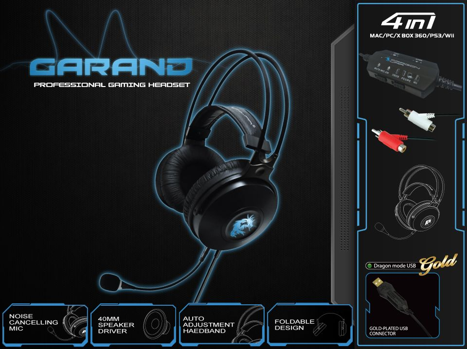 Dragon War Garand 51 Surround Professional Gaming Headset Micros